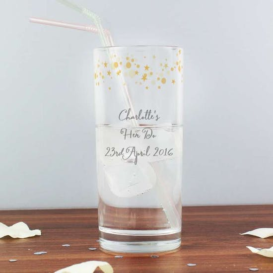 Personalised Gold Star Etched Glass