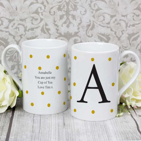 Monogram Gold Spot Windsor Mug