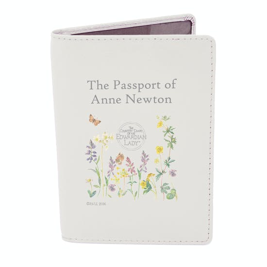 Personalised Flower Design Leather Passport Holder