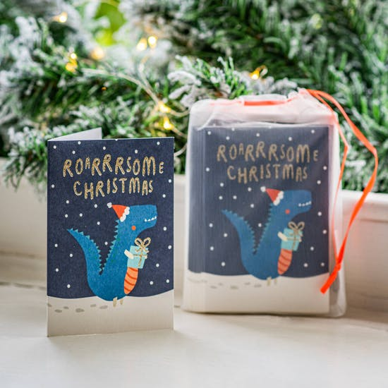 Pack Of Childrens Dinosaur Christmas Cards