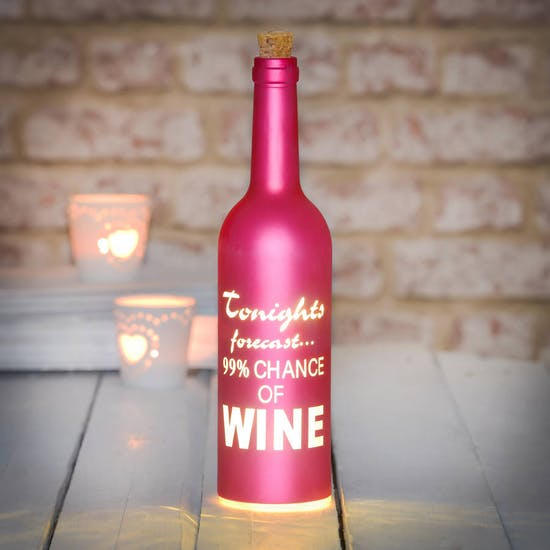 Pink Typographic LED Light Bottle
