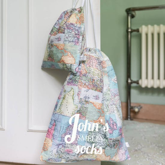 Pair Of Map Design Storage or Laundry Bags