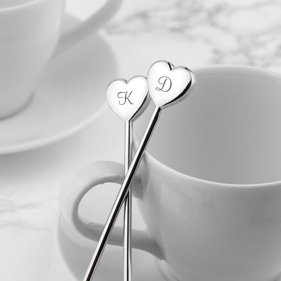 A Pair Of Personalised Heart Spoons