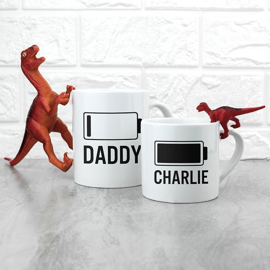 A Pair Of Personalised 'Low Battery' Mugs
