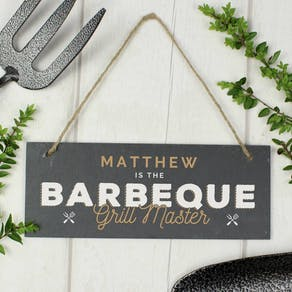 Personalised Barbeque Grill Master Slate Sign