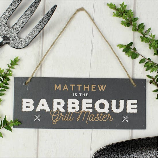 Personalised 'Barbeque Grill Master' Slate Sign