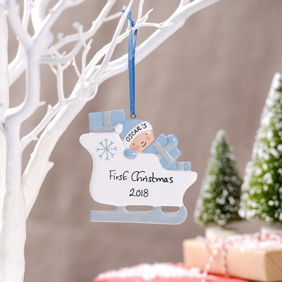 Personalised Babies Christmas Sleigh Decoration