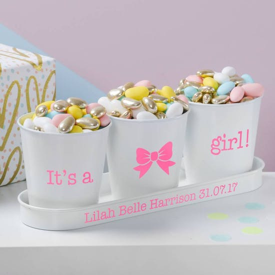 Personalised Baby Announcement Pots