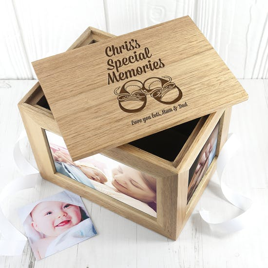 Personalised Baby Shoes Photo Keepsake Box
