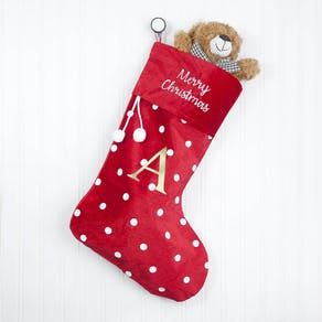 Personalised Big Letter Spotty Christmas Stocking