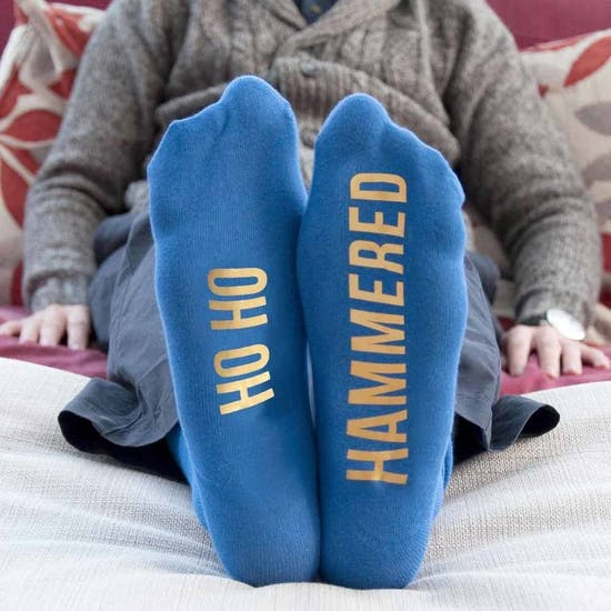 Personalised Blue And Gold Christmas Socks
