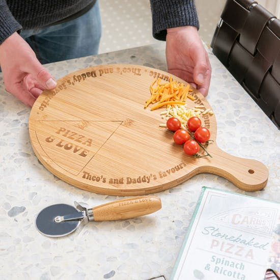 Personalised Bamboo Pizza Board & Cutter Set