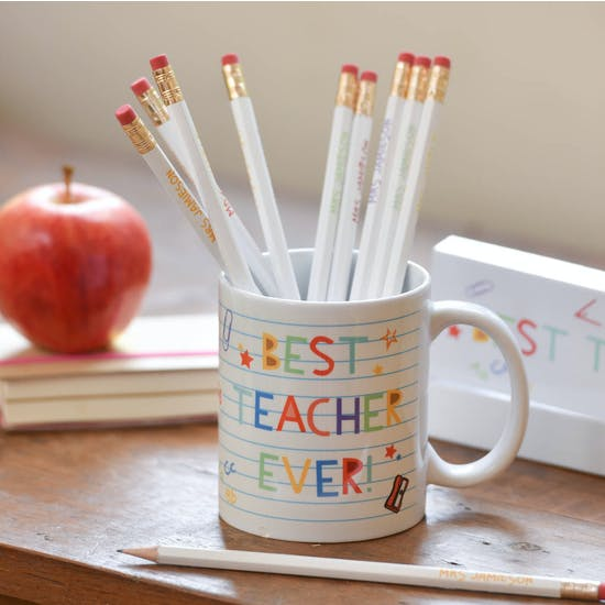 Personalised Best Teacher Mug And Pencil Set