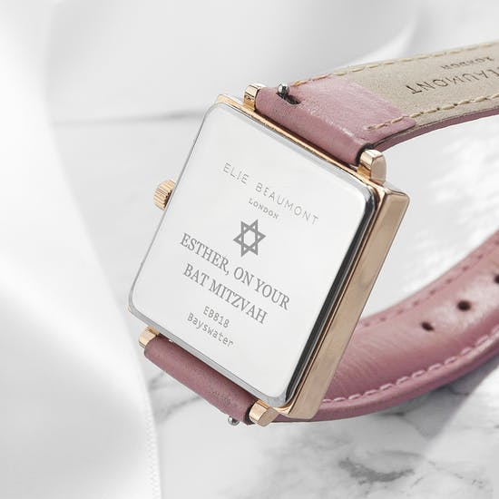 Personalised Bat Mitzvah Pink Leather Watch