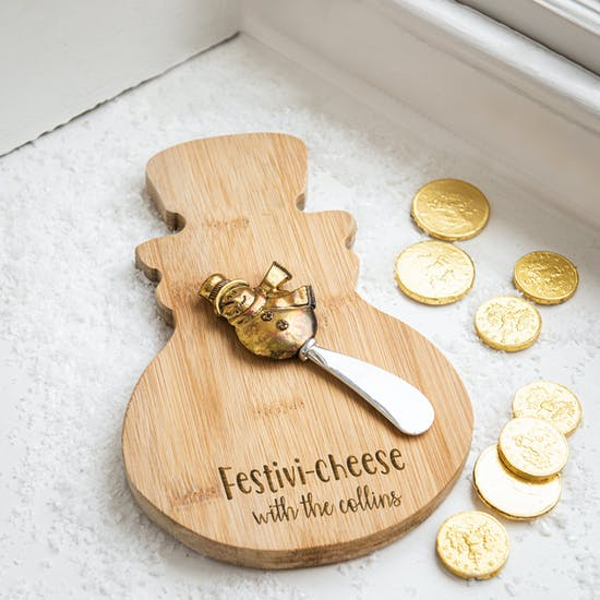 Personalised Christmas Bamboo Cheese Set