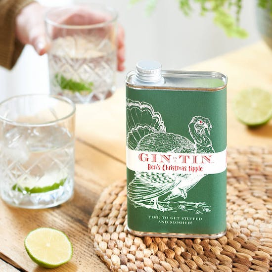 Personalised Christmas Gin In A Tin