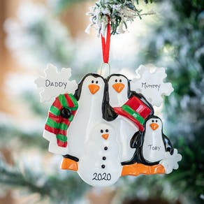 Personalised Christmas Penguin Family Decoration