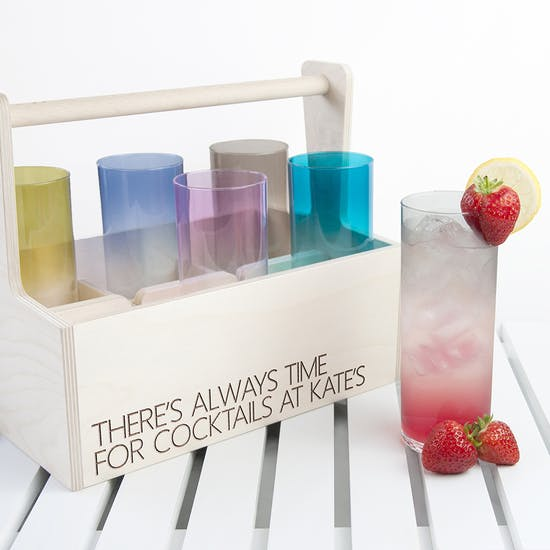 Personalised Lsa Cocktail Highball Glasses And Trug