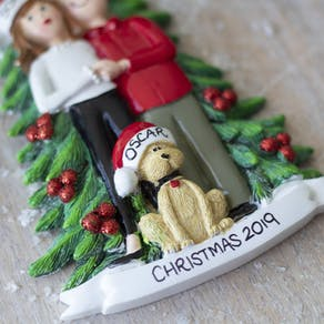 Personalised Couple With Dog Decoration