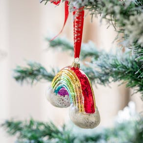 Personalised Crackle Glaze Rainbow Shaped Bauble