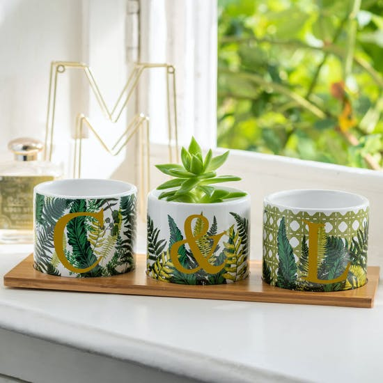 Personalised Ceramic Planters On A Bamboo Stand