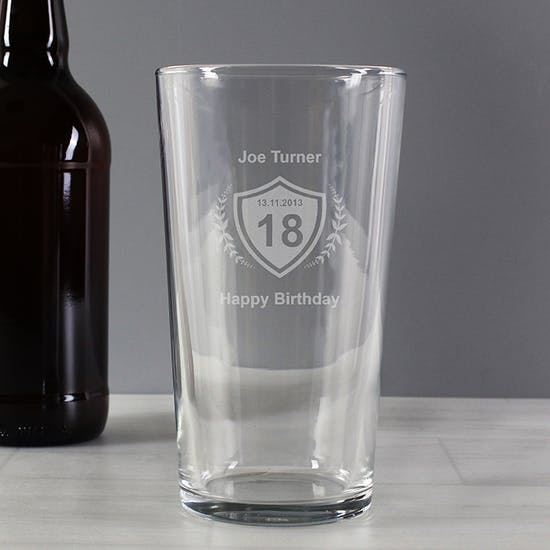 Personalised Crest Pint Glass