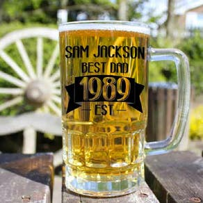 Personalised Dad Beer Glass Tankard