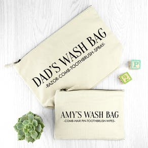 Personalised Daddy And Me Cream Wash Bags