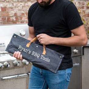 Personalised Denim Barbecue Tools Gift Set