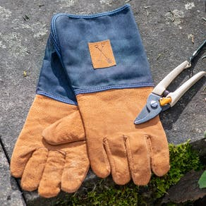 Personalised Denim Gauntlet Gardening Gloves