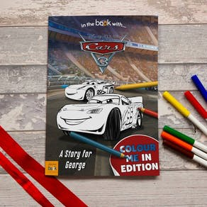 Personalised Disney Cars Three Colouring Book