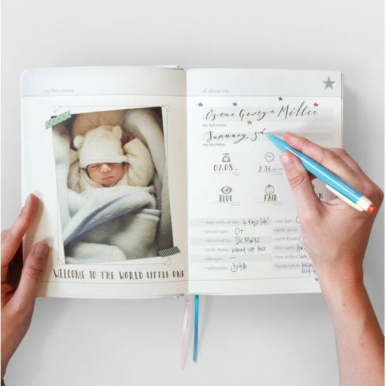 Personalised Fabric Bound New Baby Journal