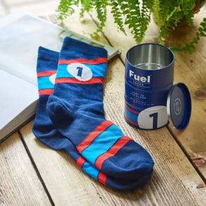 Personalised Fuel Sock In Gift Tin