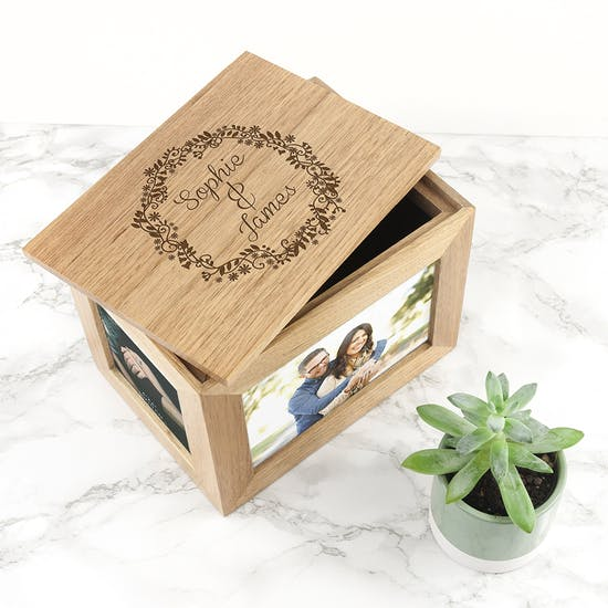 Personalised Floral Couples Photo Keepsake Box