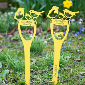 Personalised Family Bird Spade Garden Decoration