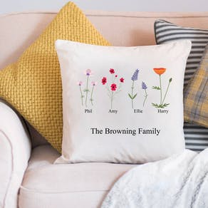 Personalised Family Birth Flower Cushion Cover