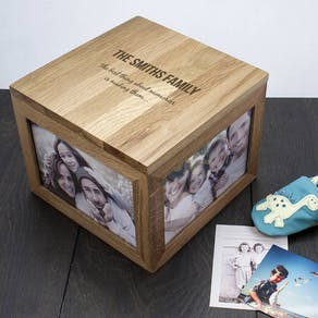 Personalised 'We Are Family' Oak Photo Box