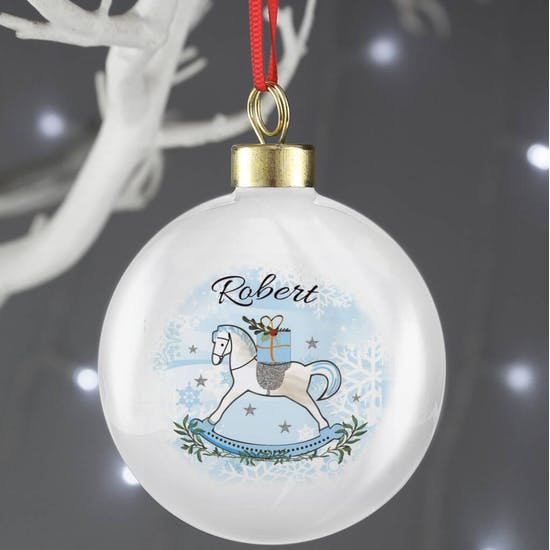 Personalised First Christmas Rocking Horse Bauble