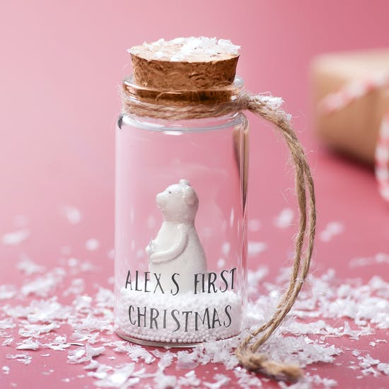 Personalised First Christmas Snowglobe Decoration