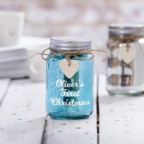Personalised First Christmas Sparkle LED Jar