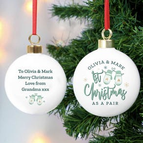 Personalised First Christmas As A Pair Bauble