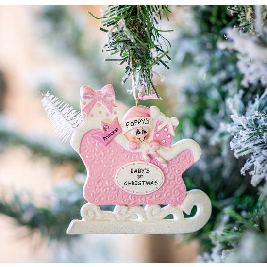 Personalised First Christmas Sleigh Decoration