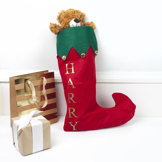 Personalised Festive Stocking With Bells