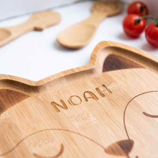 Personalised Fox Bamboo Plate