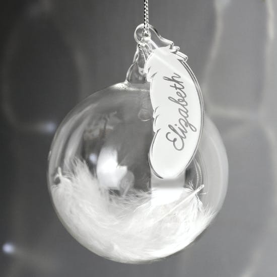 Personalised Glass Feather Christmas Bauble