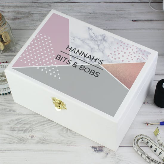 Personalised Geometric Wooden Keepsake Box