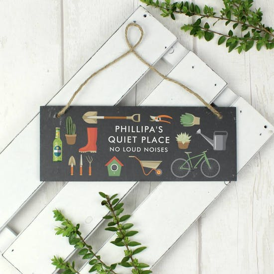 Personalised Garden Hanging Slate Sign