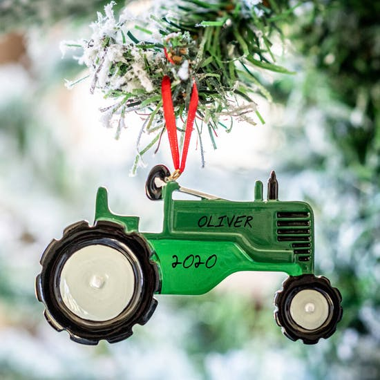 Personalised Green Tractor Decoration