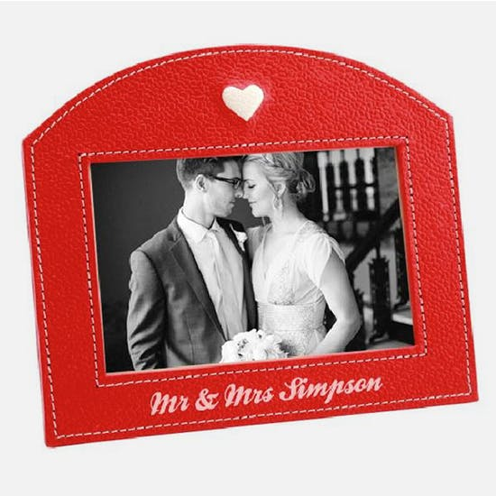 Personalised Red Heart Leather Picture Frame