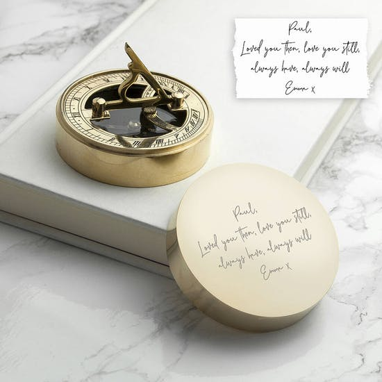 Personalised Handwriting Sundial Compass